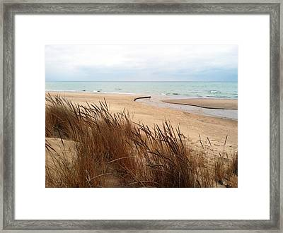 Winter Beach At Pier Cove Framed Print by Michelle Calkins