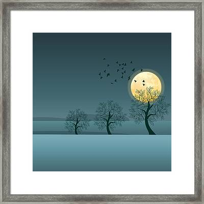 Winter Birds And Trees Framed Print by Nop Briex
