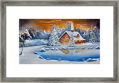 Winter Cabin Framed Print by James Taylor