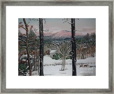 Winter - Cabin - Pink Knob Framed Print by Jan Dappen
