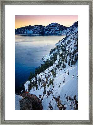 Winter Caldera Framed Print by Inge Johnsson