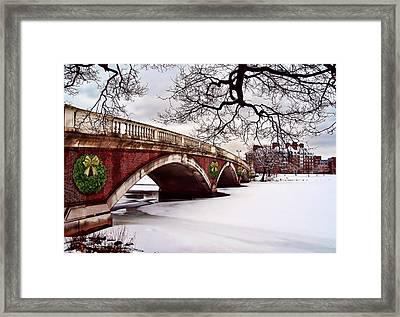 Winter Christmas On The Charles River Boston Framed Print by Elaine Plesser