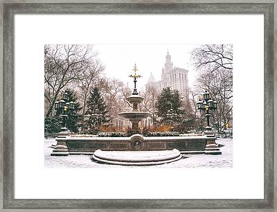 Winter - City Hall Fountain - New York City Framed Print by Vivienne Gucwa