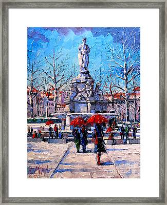 Winter City Scene - The Square  Marshal Lyautey In Lyon - France Framed Print by Mona Edulesco