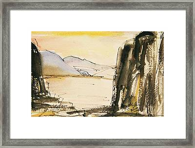 Winter Cliff Framed Print by Becky Kim