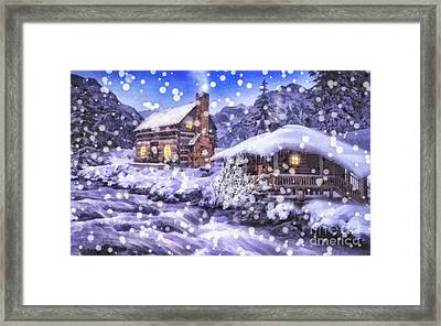 Winter Creek Framed Print by Mo T