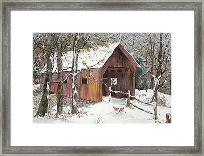Winter Crossing Framed Print by Sherri Crabtree