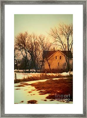 Winter Farhouse Framed Print by Jill Battaglia