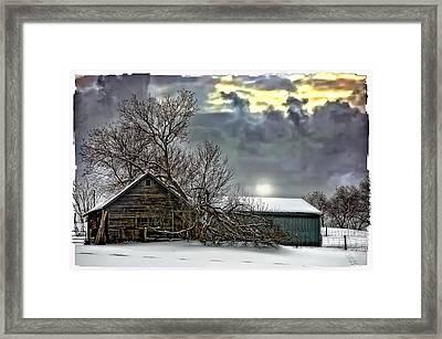 Winter Farm Polaroid Transfer  Framed Print by Steve Harrington
