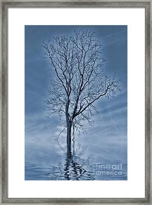 Winter Floods Painting Framed Print by John Edwards