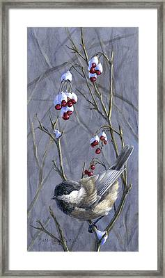 Winter Harvest 2 Chickadee Painting Framed Print by Karen Whitworth