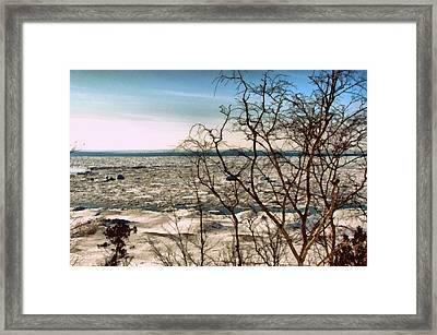 Winter Ice On Lake Michigan Framed Print by Michelle Calkins