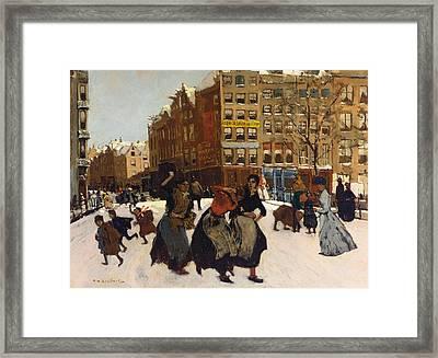 Winter In Amsterdam Framed Print by Georg Hendrik Breitner