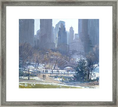 Winter In Central Park, New York, 1997 Oil On Canvas Framed Print by Julian Barrow
