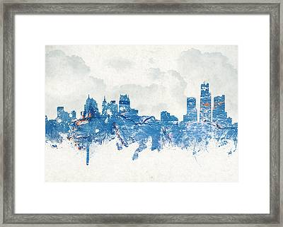 Winter In Detroit Michigan Usa Framed Print by Aged Pixel