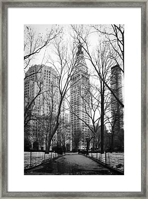 Winter In Madison Square Park - New York City Framed Print by Erin Cadigan