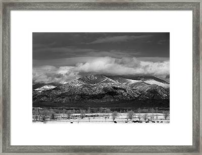 Winter In Taos New Mexico Framed Print by Mark Goebel
