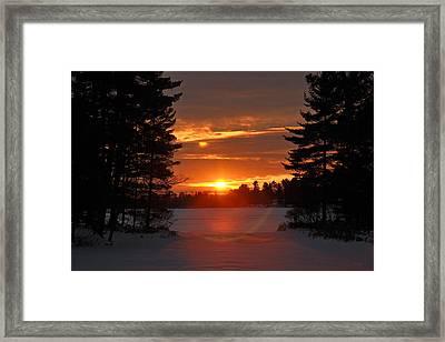 Winter Lake Sunset Framed Print by RJ Martens