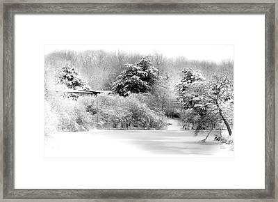 Winter Landscape Black And White Framed Print by Julie Palencia