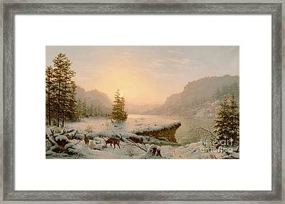 Winter Landscape Framed Print by Mortimer L Smith