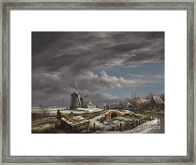 Winter Landscape With Figures On A Path Framed Print by John Constable