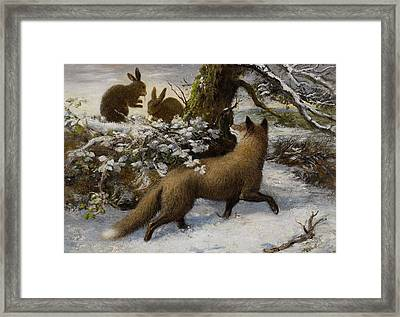 Winter Landscape With Fox And Hares Framed Print by MotionAge Designs