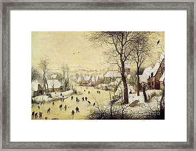 Winter Landscape With Skaters And A Bird Trap Framed Print by Pieter Bruegel the Elder