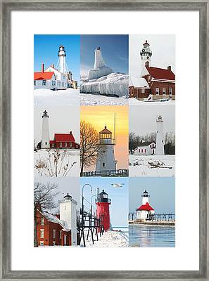 Winter Lighthouses In Michigan Framed Print by Michael Peychich