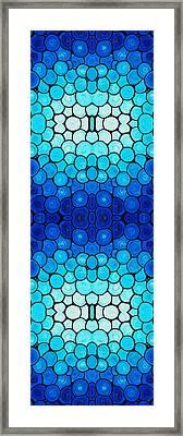 Winter Lights - Blue Mosaic Art By Sharon Cummings Framed Print by Sharon Cummings