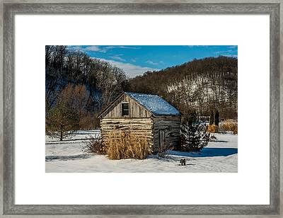Winter Logcabin Framed Print by Paul Freidlund