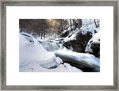 Winter Meltdown Rushing Over Conestoga Falls Framed Print by Gene Walls