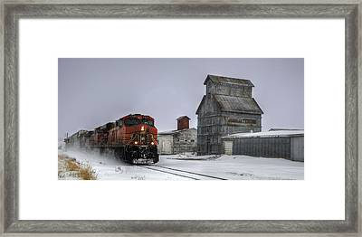 Winter Mixed Freight Through Castle Rock Framed Print by Ken Smith