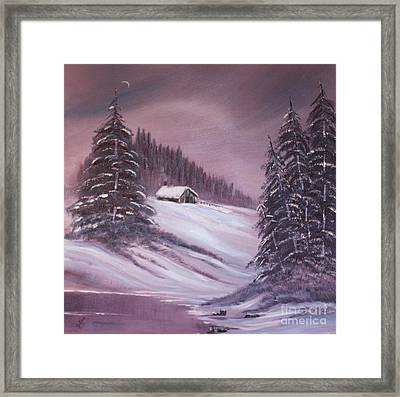 Winter Moon Framed Print by Janice Rae Pariza