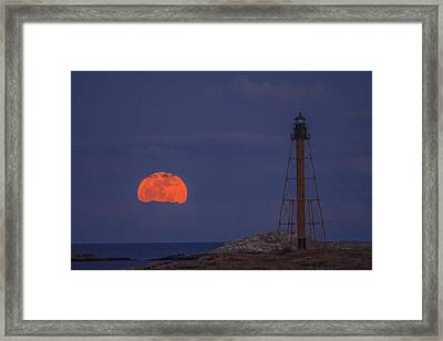 Winter Moon Rising Over Marblehead Light Framed Print by Jeff Folger