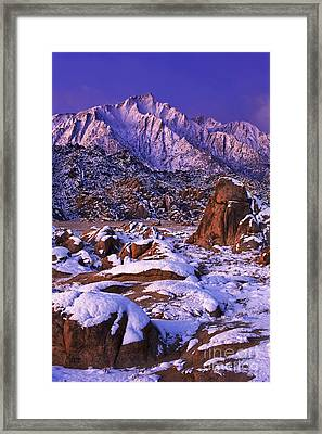 Winter Morning Alabama Hills And Eastern Sierras Framed Print by Dave Welling