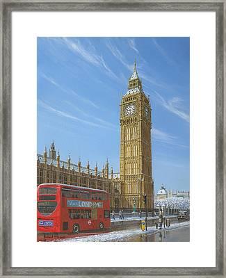 Winter Morning Big Ben Elizabeth Tower London Framed Print by Richard Harpum