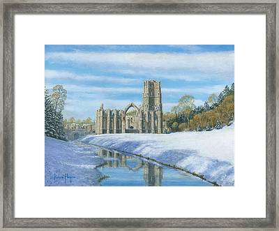 Winter Morning Fountains Abbey Yorkshire Framed Print by Richard Harpum