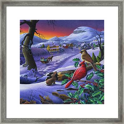 Winter Mountain Landscape - Cardinals On Holly Bush - Small Town - Sleigh Ride - Square Format Framed Print by Walt Curlee