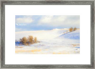 Winter Poplars Framed Print by Theresa Tahara