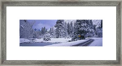 Winter Road, Yosemite Park, California Framed Print by Panoramic Images