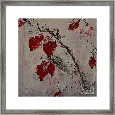 Winter Rose Hip- Abstract Framed Print by Ismeta Gruenwald