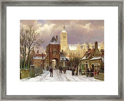 Winter Scene In Amsterdam Framed Print by Willem Koekkoek