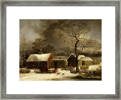 Winter Scene In New Haven Connecticut 1858 By Durrie Framed Print by Movie Poster Prints
