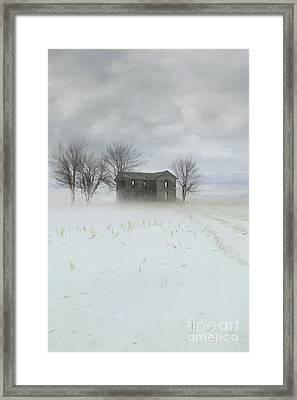 Winter Scene Of A Farmhouse/digital Painting Framed Print by Sandra Cunningham