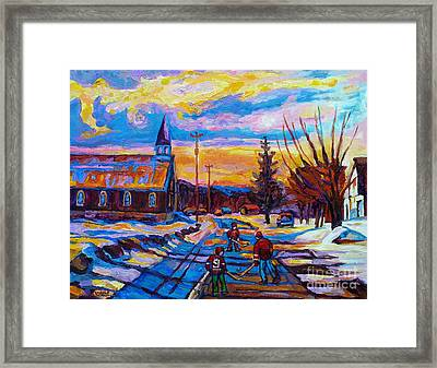 Winter Scene Painting-hockey Game In The Village-rural Hockey Scene Framed Print by Carole Spandau