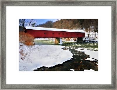 Winter Scene-west Cornwall Covered Bridge Framed Print by Thomas Schoeller