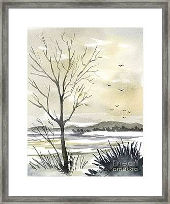 Winter Sky Framed Print by Joan A Hamilton