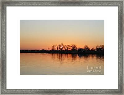 Winter Sky Over Oceanside Ny Framed Print by John Telfer