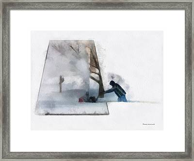 Winter Snow Blower Photo Art Framed Print by Thomas Woolworth