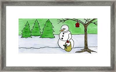 Winter Snowman Framed Print by Norma Appleton